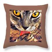 Tabby Cat Licking Paw Throw Pillow