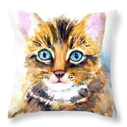 Tabby Kitten Watercolor Throw Pillow