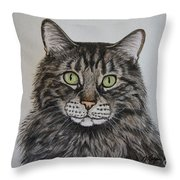 Tabby-lil' Bit Throw Pillow by Megan Cohen