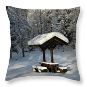 Table By Cross Country Ski Tracks Throw Pillow