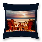 Table For Four At The Beach At Sunset Throw Pillow