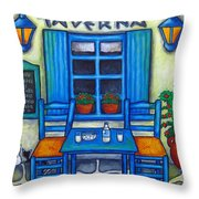 Table For Two In Greece Throw Pillow by Lisa  Lorenz