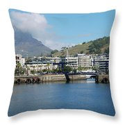 Table Mountain From The V And A Waterfront Quays Throw Pillow