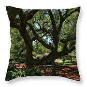 Table Under The Oak Tree Throw Pillow