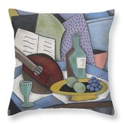 Table With Mandolin Throw Pillow