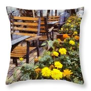 Tables And Chairs With Flowers Throw Pillow