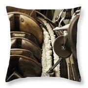 Tac Room Saddles Throw Pillow by John Greim