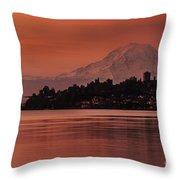 Tacoma Bay Mount Rainier Sunrise Throw Pillow