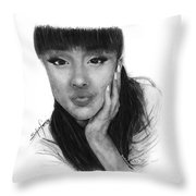 Ariana Grande Drawing By Sofia Furniel Throw Pillow