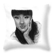 Ariana Grande Drawing By Sofia Furniel Throw Pillow