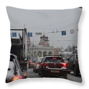 Taganskaya Square In Snow Throw Pillow