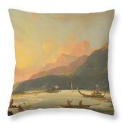 Tahitian War Galleys In Matavai Bay Throw Pillow