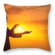 Tai Chi At Sunset Throw Pillow