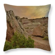 Tail End Of Storm At Sunset Over Bentonite Site Throw Pillow
