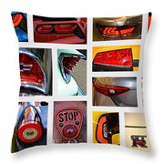 Tail Light Collage Number 1 Throw Pillow