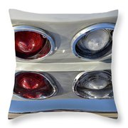 Tail Lights Of A 1966 Chevrolet Corvette Sting Ray 427 Turbo-jet Throw Pillow