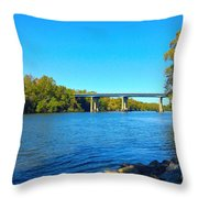 Tail Race Canal Throw Pillow