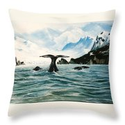 Tailing Whales Prince William Sound Throw Pillow
