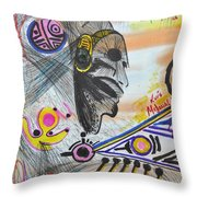 Taino Mask And Symbols Throw Pillow