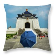 Taipei Lady Umbrella Throw Pillow