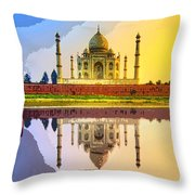 Taj Mahal At Sunrise Throw Pillow