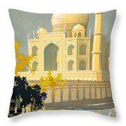 Taj Mahal Visit India Vintage Travel Poster Restored Throw Pillow