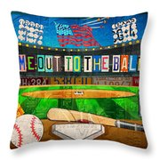 Take Me Out To The Ballgame Recycled Vintage License Plate Art Collage Throw Pillow