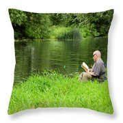 Taking A Break From Fishing Throw Pillow