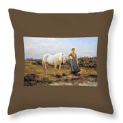 Taking A Horse To Water Throw Pillow