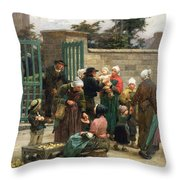 Taking In Foundlings Throw Pillow by Leon Augustin Lhermitte