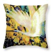 Taking Wing Above The Garden - Kimono Series Throw Pillow