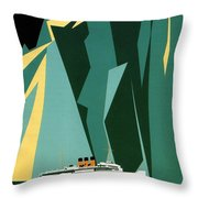 Taku Glacier - Alaska - Canadian Pacific Steamship - Retro Travel Poster - Vintage Poster Throw Pillow
