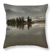Talbot Lake Stormy Panorama Throw Pillow