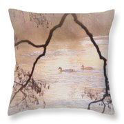 Tales From The Riverbank  Iv Throw Pillow