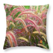 Tall, Colorful, Whispy Grasses In The Sumer Breeze Throw Pillow