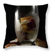 Tall Crystal Vase With Rose Petals Throw Pillow