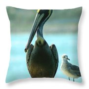 Tall Pelican Throw Pillow