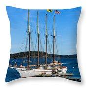 Tall Sailboat In Acadia Throw Pillow