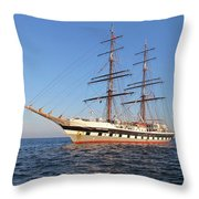 Tall Ship Anchored Off Penzance Throw Pillow