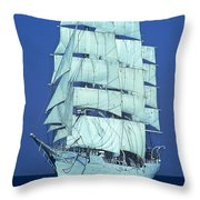 Tall Ship At Sea Throw Pillow by Kenneth Garrett