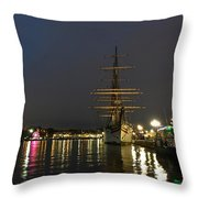 Tall Ship Docked At The Baltimore Inner Harbor Throw Pillow