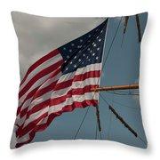 Tall Ship Flag I Throw Pillow