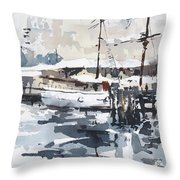 Tall Ship In Sydney Harbour Throw Pillow