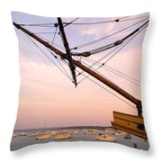 Tall Ship Mayflower II In Plymouth Massachusetts Throw Pillow