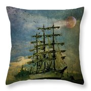 Tall Ship New York Harbor 1976 Throw Pillow