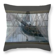Tall Ship Through A Window Throw Pillow