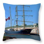 Tall Ship Waiting Throw Pillow