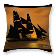 Tall Ship With A Harvest Moon Throw Pillow