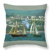 Tall Ships And Steam Trains Throw Pillow