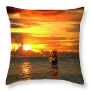 Tall Ships And The Trade Route Throw Pillow